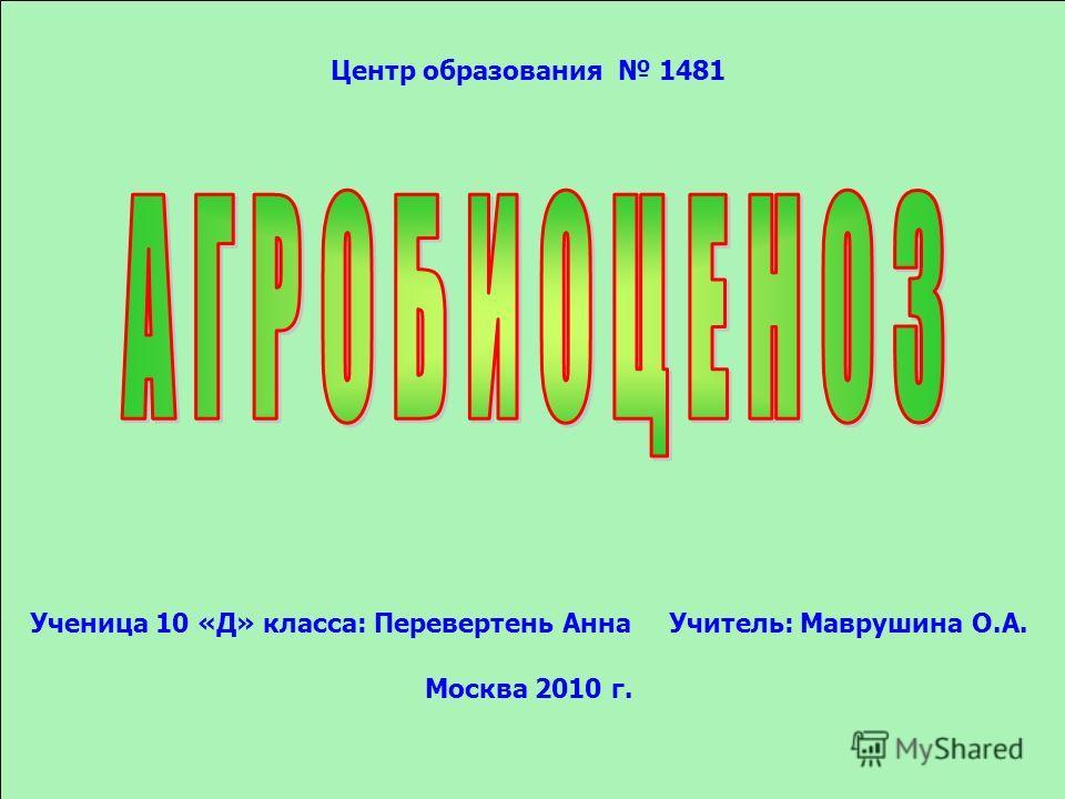 Центр образования 1481 Ученица 10 «Д» класса: Перевертень АннаУчитель: Маврушина О.А. Москва 2010 г.