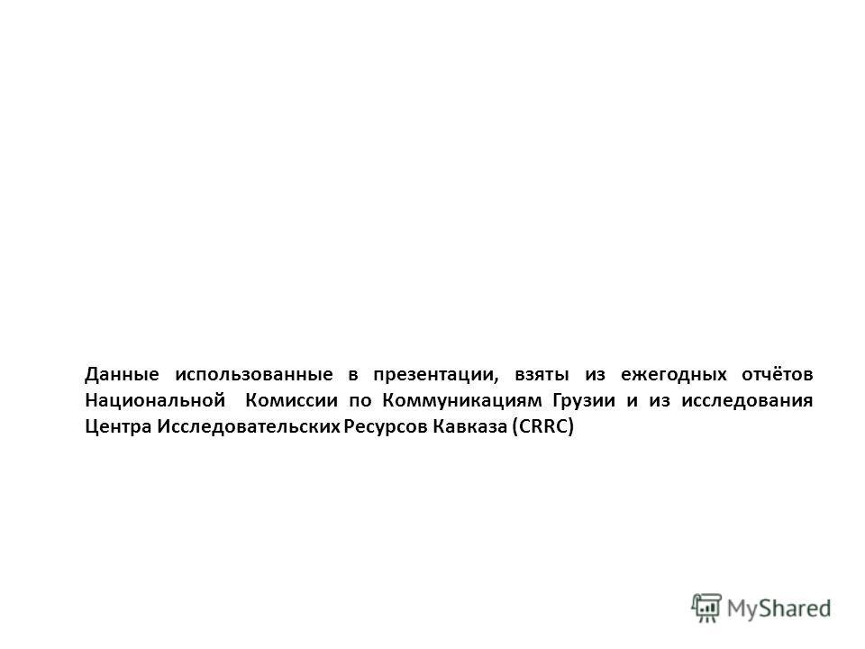 Данные использованные в презентации, взяты из ежегодных отчётов Национальной Комиссии по Коммуникациям Грузии и из исследования Центра Исследовательских Ресурсов Кавказа (CRRC)