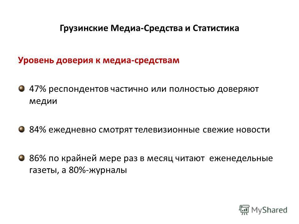Грузинские Медиа-Средства и Статистика Уровень доверия к медиа-средствам 47% респондентов частично или полностью доверяют медии 84% ежедневно смотрят телевизионные свежие новости 86% по крайней мере раз в месяц читают еженедельные газеты, а 80%-журна
