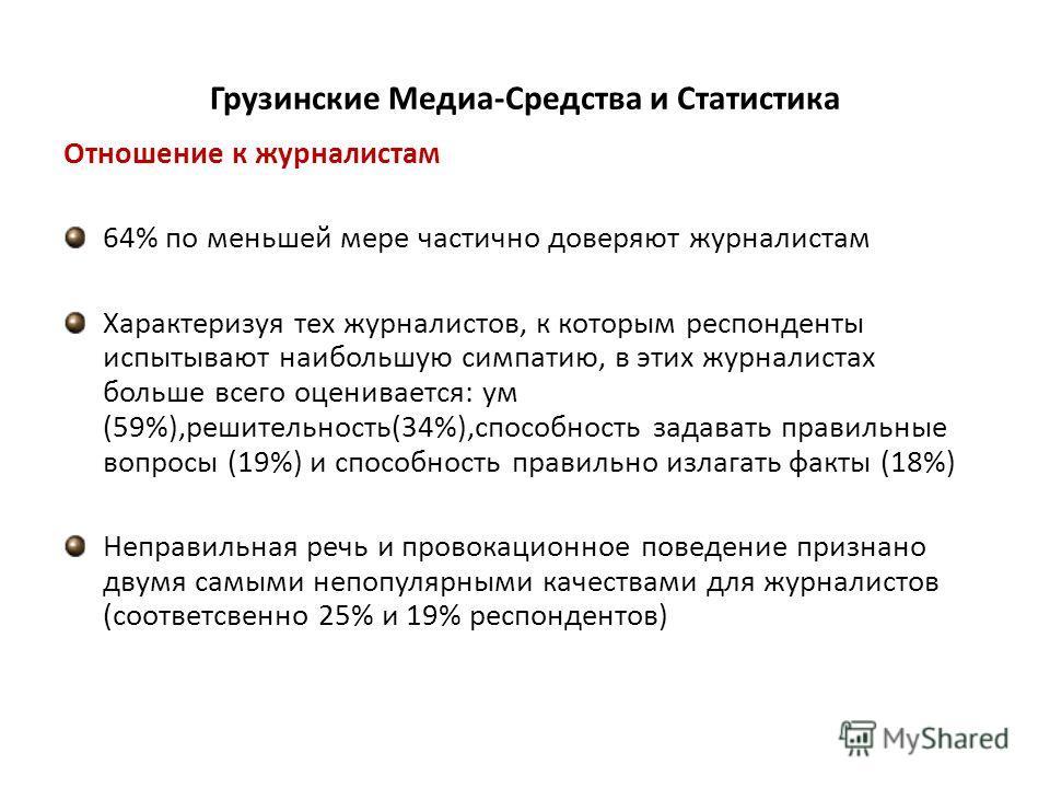 Грузинские Медиа-Средства и Статистика Отношение к журналистам 64% по меньшей мере частично доверяют журналистам Характеризуя тех журналистов, к которым респонденты испытывают наибольшую симпатию, в этих журналистах больше всего оценивается: ум (59%)