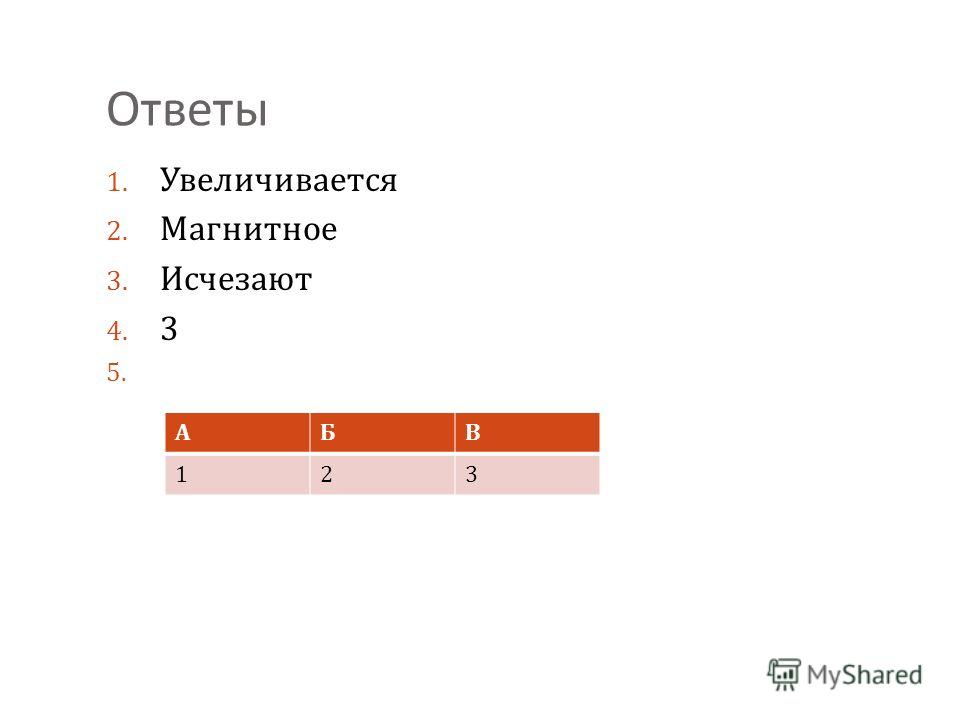 Ответы 1. Увеличивается 2. Магнитное 3. Исчезают 4. 3 5. АБВ 123