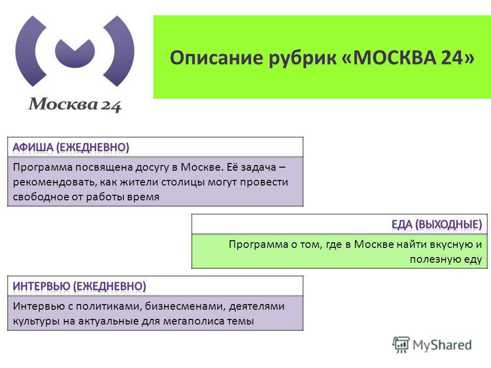 Программа посвящена досугу в Москве. Её задача – рекомендовать, как жители столицы могут провести свободное от работы время Программа о том, где в Москве найти вкусную и полезную еду Интервью с политиками, бизнесменами, деятелями культуры на актуальн