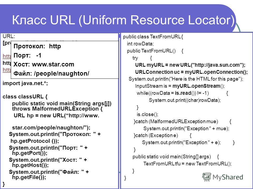 Класс URL (Uniform Resource Locator) URL: [protocol]://host[:port][path] http://www.sun.com http://157.23.12.101 http://ermak.cs.nstu.ru/cprog/index.html import java.net.*; class classURL { public static void main(String args[j]) throws MalformedURLE