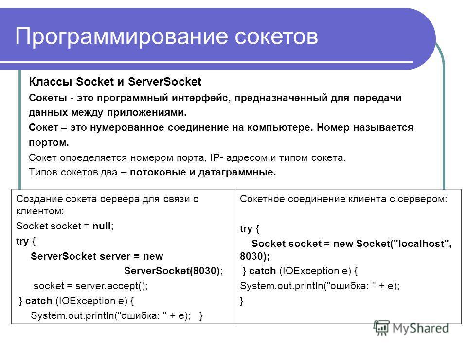 Программирование сокетов Классы Socket и ServerSocket Сокеты - это программный интерфейс, предназначенный для передачи данных между приложениями. Cокет – это нумерованное соединение на компьютере. Номер называется портом. Сокет определяется номером п