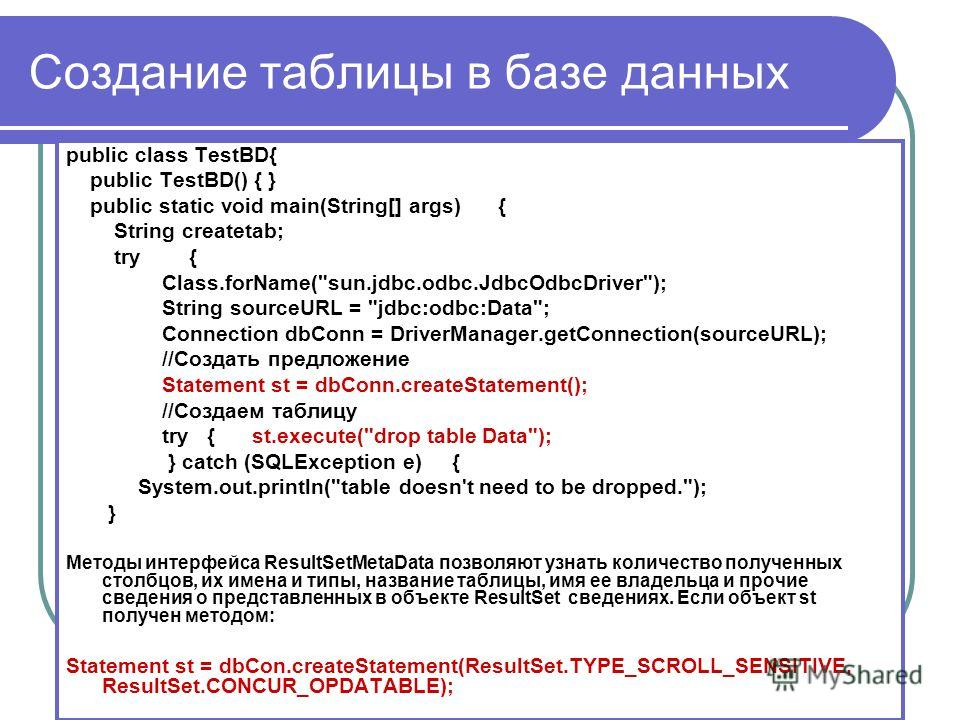 Создание таблицы в базе данных public class TestBD{ public TestBD() { } public static void main(String[] args) { String createtab; try { Class.forName(