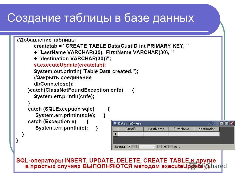 Создание таблицы в базе данных //Добавление таблицы createtab =