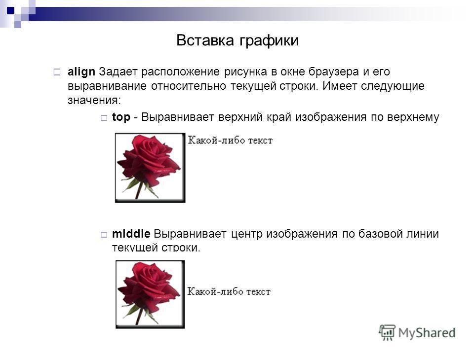 align Задает расположение рисунка в окне браузера и его выравнивание относительно текущей строки. Имеет следующие значения: top - Выравнивает верхний край изображения по верхнему краю текущей строки. middle Выравнивает центр изображения по базовой ли