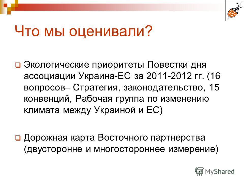 Что мы оценивали? Экологические приоритеты Повестки дня ассоциации Украина-ЕС за 2011-2012 гг. (16 вопросов– Стратегия, законодательство, 15 конвенций, Рабочая группа по изменению климата между Украиной и ЕС) Дорожная карта Восточного партнерства (дв