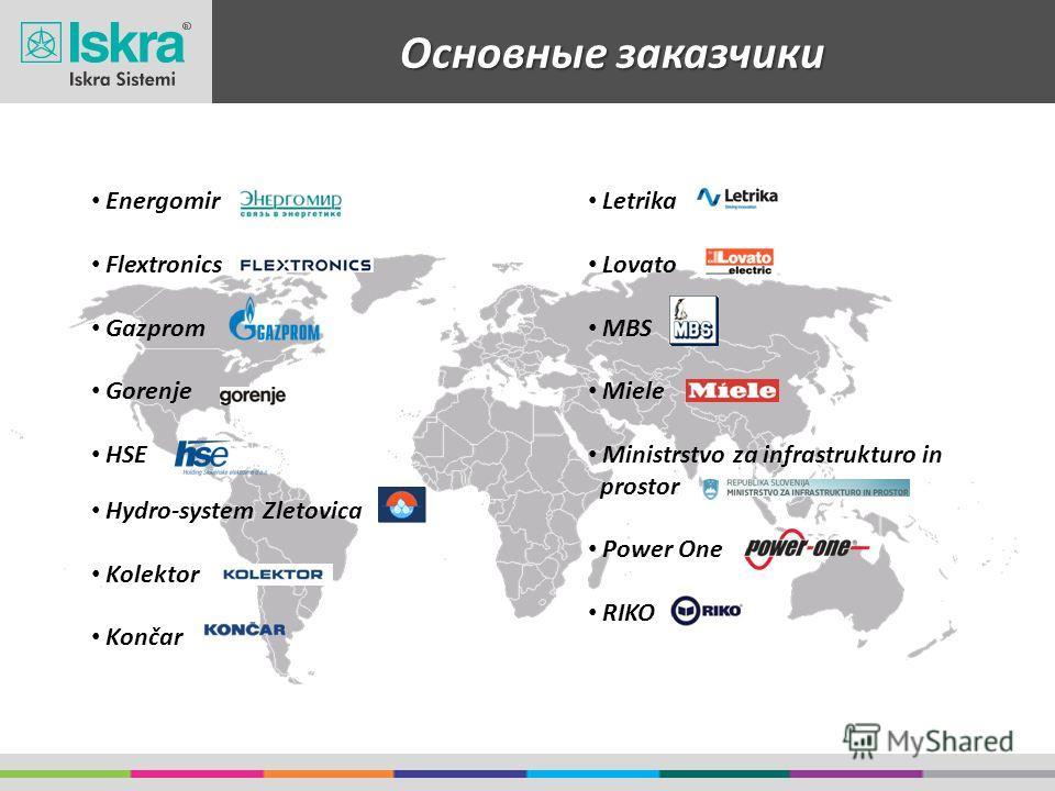 Основные заказчики Energomir Flextronics Gazprom Gorenje HSE Hydro-system Zletovica Kolektor Končar Letrika Lovato MBS Miele Ministrstvo za infrastrukturo in prostor Power One RIKO