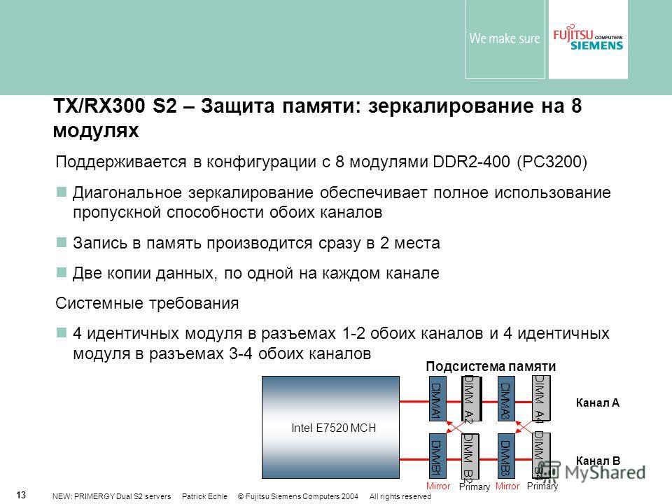 NEW: PRIMERGY Dual S2 servers Patrick Echle © Fujitsu Siemens Computers 2004 All rights reserved 13 TX/RX300 S2 – Защита памяти: зеркалирование на 8 модулях Поддерживается в конфигурации с 8 модулями DDR2-400 (PC3200) Диагональное зеркалирование обес