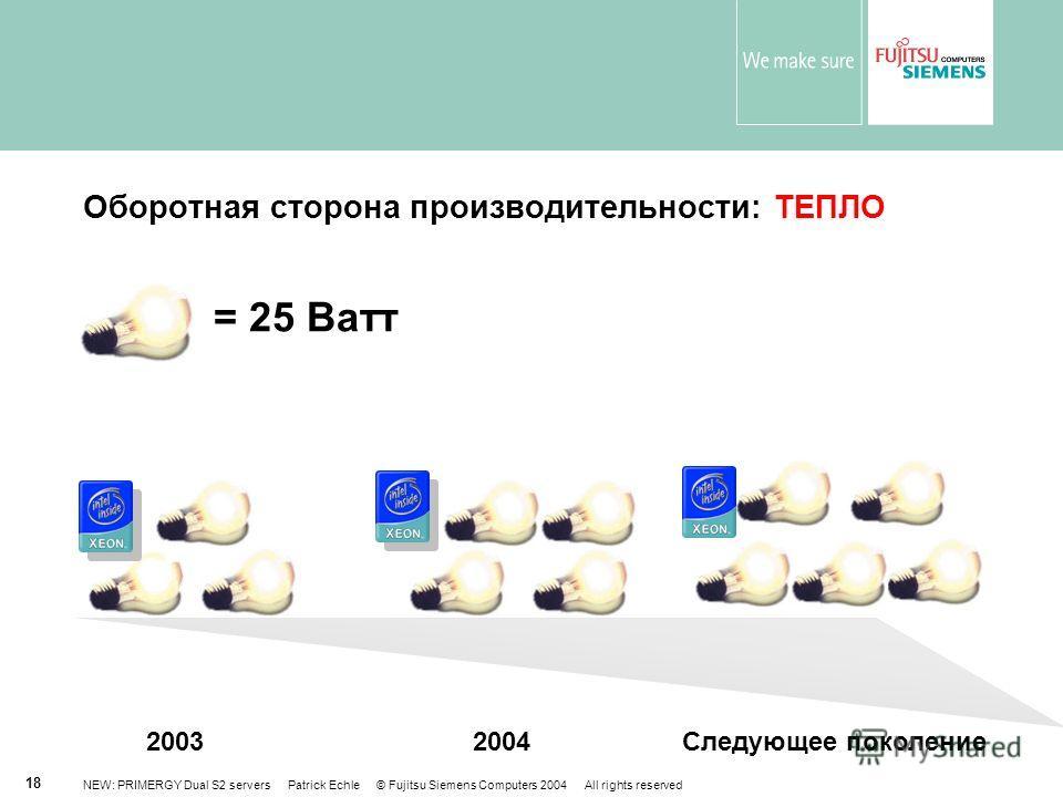 NEW: PRIMERGY Dual S2 servers Patrick Echle © Fujitsu Siemens Computers 2004 All rights reserved 18 Оборотная сторона производительности: ТЕПЛО = 25 Ватт 20042003Следующее поколение
