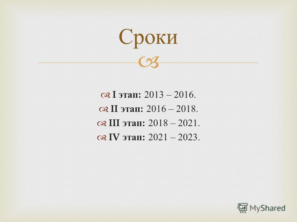 I этап : 2013 – 2016. II этап : 2016 – 2018. III этап : 2018 – 2021. IV этап : 2021 – 2023. Сроки