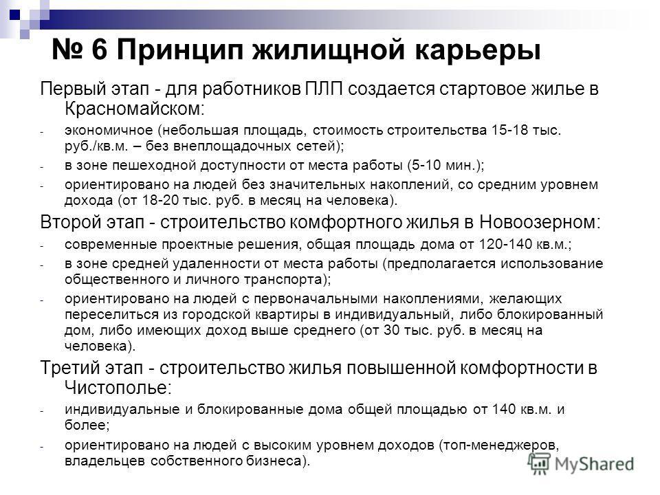 6 Принцип жилищной карьеры Первый этап - для работников ПЛП создается стартовое жилье в Красномайском: - экономичное (небольшая площадь, стоимость строительства 15-18 тыс. руб./кв.м. – без внеплощадочных сетей); - в зоне пешеходной доступности от мес