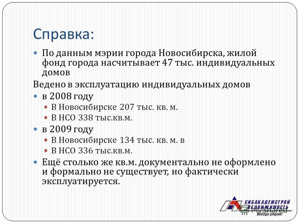Справка : По данным мэрии города Новосибирска, жилой фонд города насчитывает 47 тыс. индивидуальных домов Ведено в эксплуатацию индивидуальных домов в 2008 году В Новосибирске 207 тыс. кв. м. В НСО 338 тыс. кв. м. в 2009 году В Новосибирске 134 тыс.