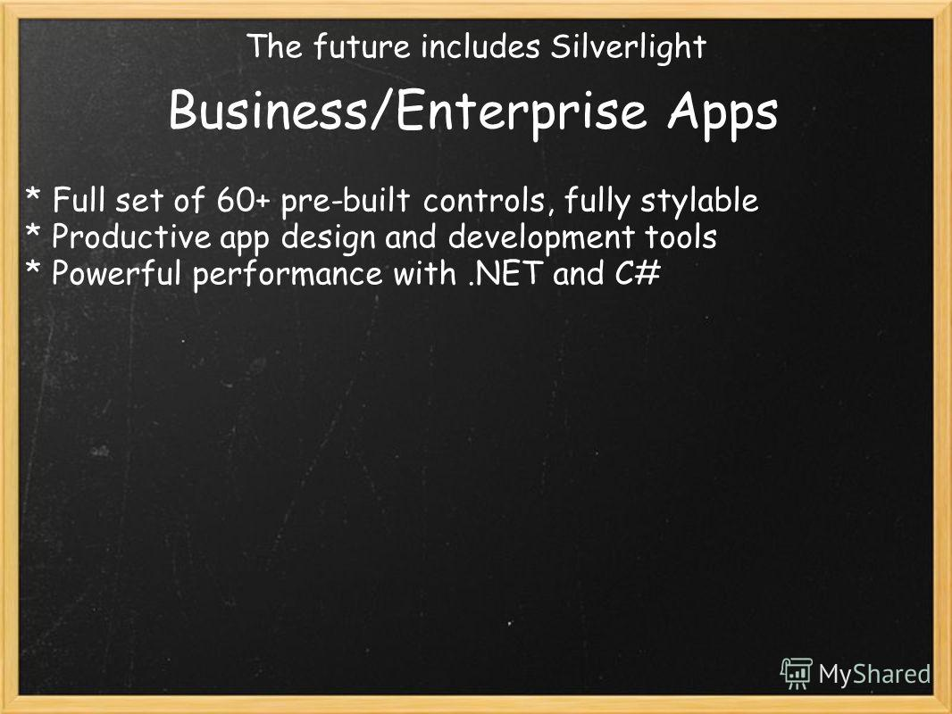 The future includes Silverlight Business/Enterprise Apps * Full set of 60+ pre-built controls, fully stylable * Productive app design and development tools * Powerful performance with.NET and C#