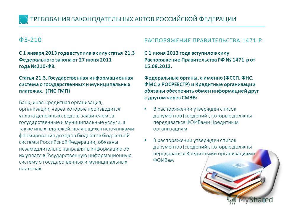 ТРЕБОВАНИЯ ЗАКОНОДАТЕЛЬНЫХ АКТОВ РОССИЙСКОЙ ФЕДЕРАЦИИ C 1 января 2013 года вступила в силу статья 21.3 Федерального закона от 27 июня 2011 года 210-ФЗ. Статья 21.3. Государственная информационная система о государственных и муниципальных платежах. (Г