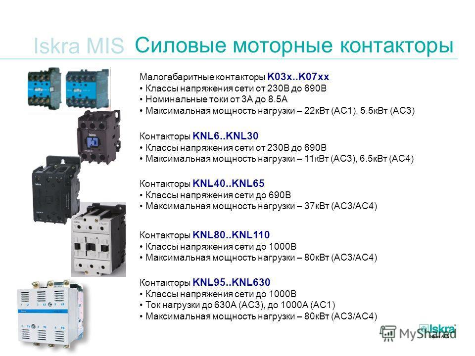 Iskra MIS Силовые моторные контакторы Малогабаритные контакторы K03x..K07xx Классы напряжения сети от 230В до 690В Номинальные токи от 3А до 8.5А Максимальная мощность нагрузки – 22кВт (AC1), 5.5кВт (AC3) Контакторы KNL6..KNL30 Классы напряжения сети