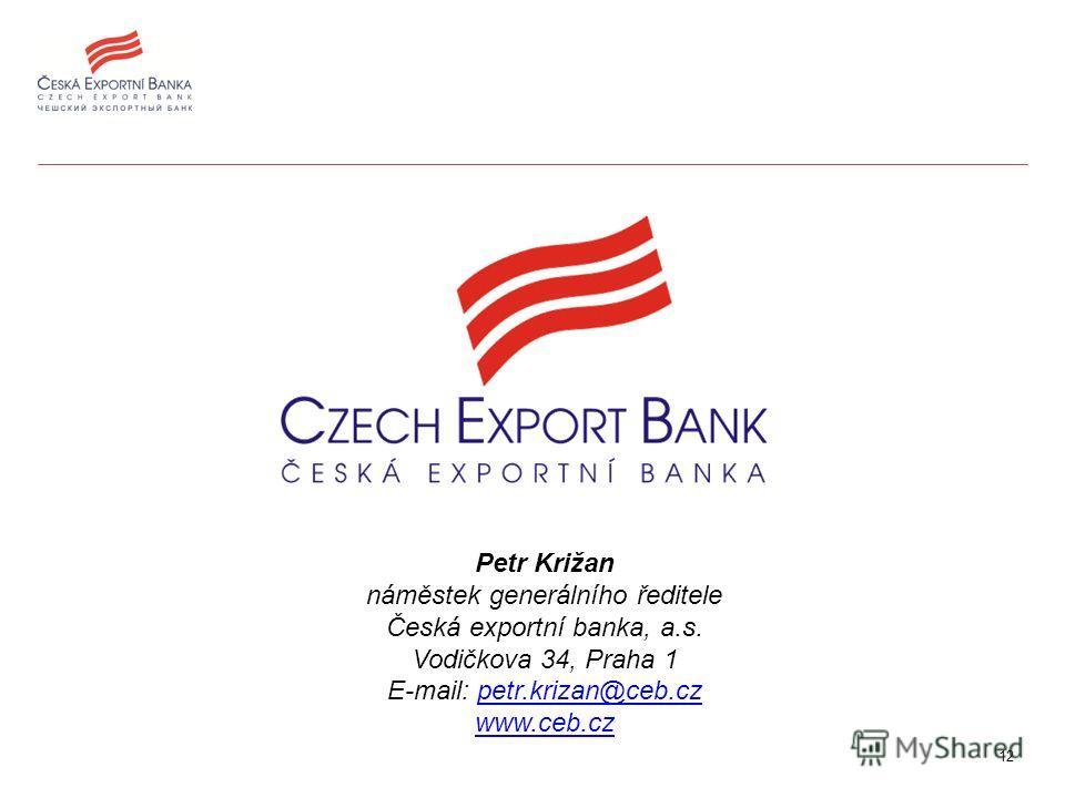 12 Petr Križan náměstek generálního ředitele Česká exportní banka, a.s. Vodičkova 34, Praha 1 E-mail: petr.krizan@ceb.czpetr.krizan@ceb.cz www.ceb.cz