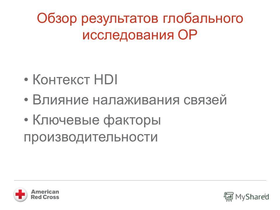Обзор результатов глобального исследования ОР Контекст HDI Влияние налаживания связей Ключевые факторы производительности 4