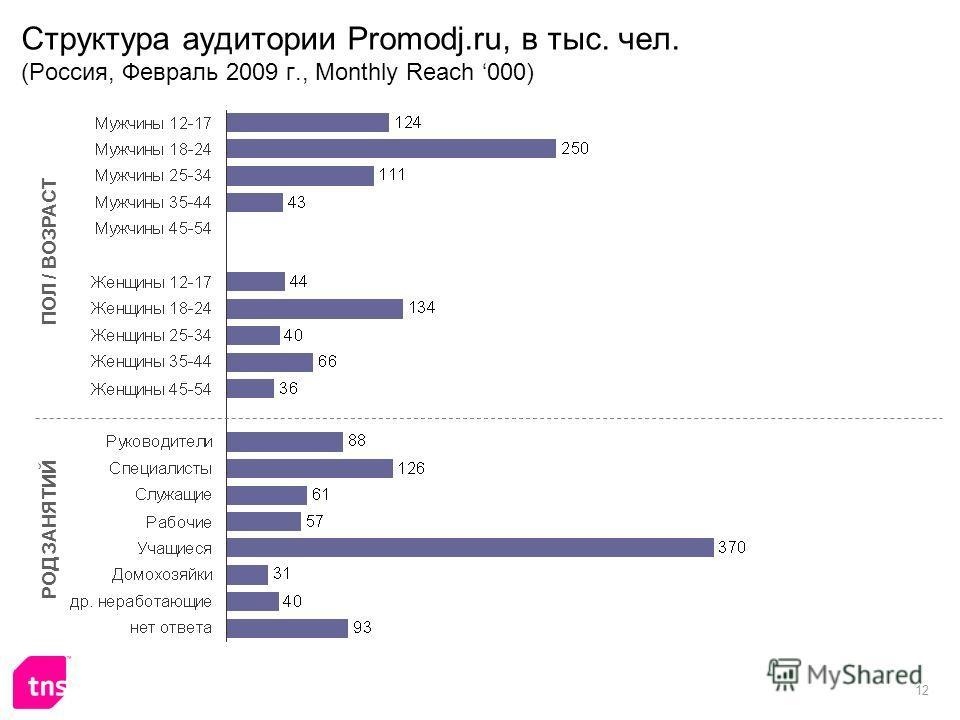 12 Структура аудитории Promodj.ru, в тыс. чел. (Россия, Февраль 2009 г., Monthly Reach 000) ПОЛ / ВОЗРАСТ РОД ЗАНЯТИЙ