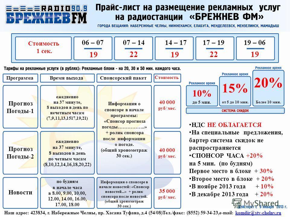 Наш адрес: 423834, г. Набережные Челны, пр. Хасана Туфана, д.4 (54/08)Тел./факс: (8552) 59-34-23,e-mail: komdir@stv-chelny.rukomdir@stv-chelny.ru НДС НЕ ОБЛАГАЕТСЯ На специальные предложения, бартер система скидок не распространяется СПОНСОР ЧАСА +20