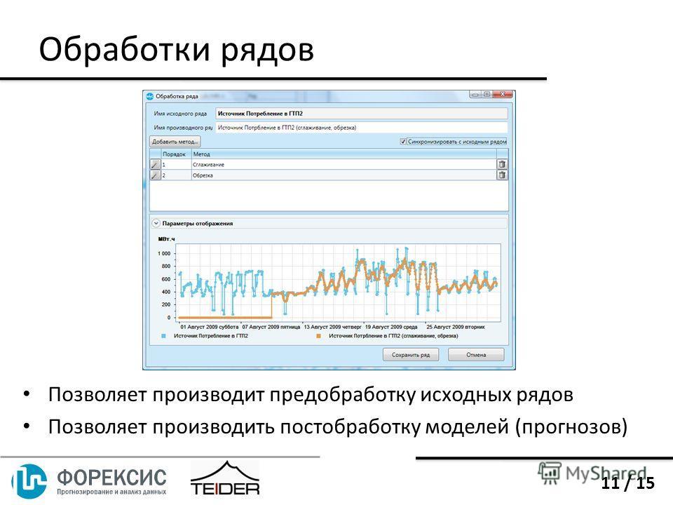 Обработки рядов Позволяет производит предобработку исходных рядов Позволяет производить постобработку моделей (прогнозов) 11 / 15