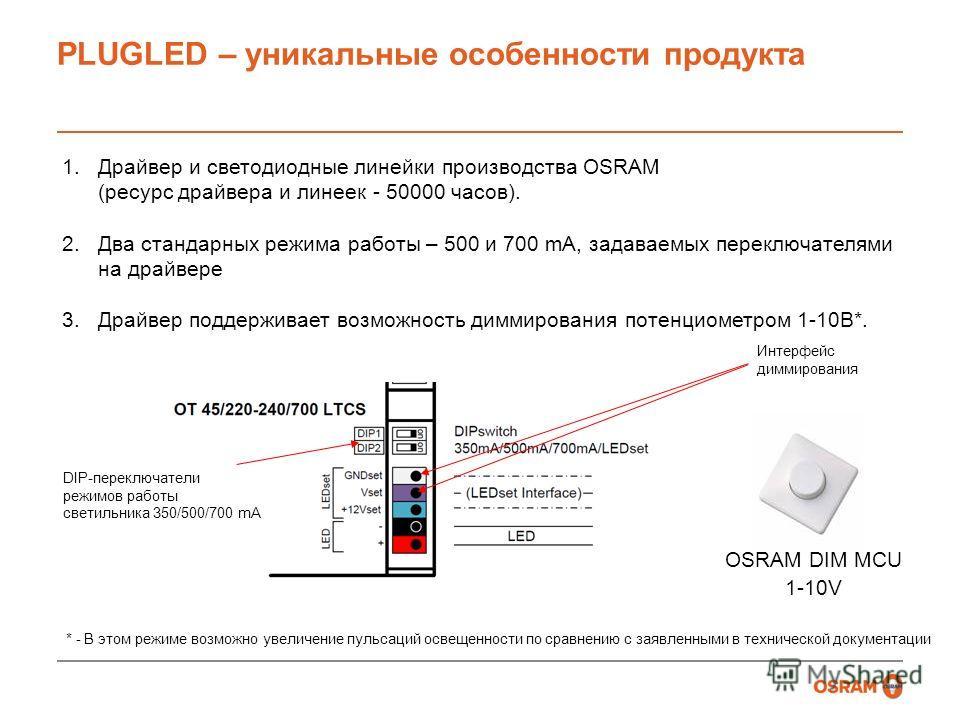 PLUGLED – уникальные особенности продукта 1.Драйвер и светодиодные линейки производства OSRAM (ресурс драйвера и линеек - 50000 часов). 2.Два стандарных режима работы – 500 и 700 mA, задаваемых переключателями на драйвере 3.Драйвер поддерживает возмо