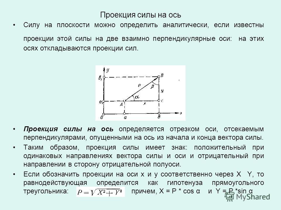 Проекция силы на ось Силу на плоскости можно определить аналитически, если известны проекции этой силы на две взаимно перпендикулярные оси: на этих осях откладываются проекции сил. Проекция силы на ось определяется отрезком оси, отсекаемым перпендику
