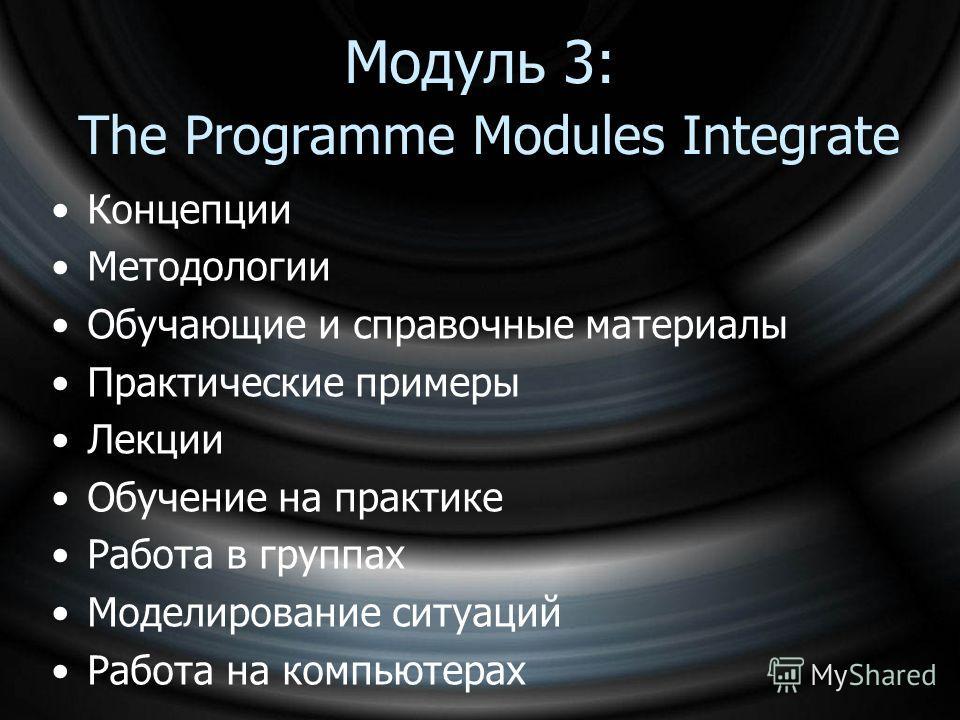 Модуль 3: The Programme Modules Integrate Концепции Методологии Обучающие и справочные материалы Практические примеры Лекции Обучение на практике Работа в группах Моделирование ситуаций Работа на компьютерах