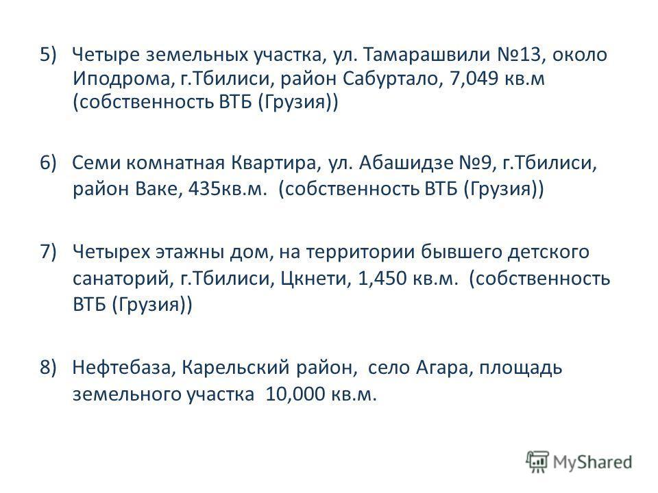 5) Четыре земельных участка, ул. Тамарашвили 13, около Иподрома, г.Тбилиси, район Сабуртало, 7,049 кв.м (собственность ВТБ (Грузия)) 6) Семи комнатная Квартира, ул. Абашидзе 9, г.Тбилиси, район Ваке, 435кв.м. (собственность ВТБ (Грузия)) 7)Четырех эт