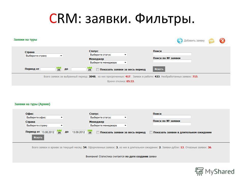 СRM: заявки. Фильтры.