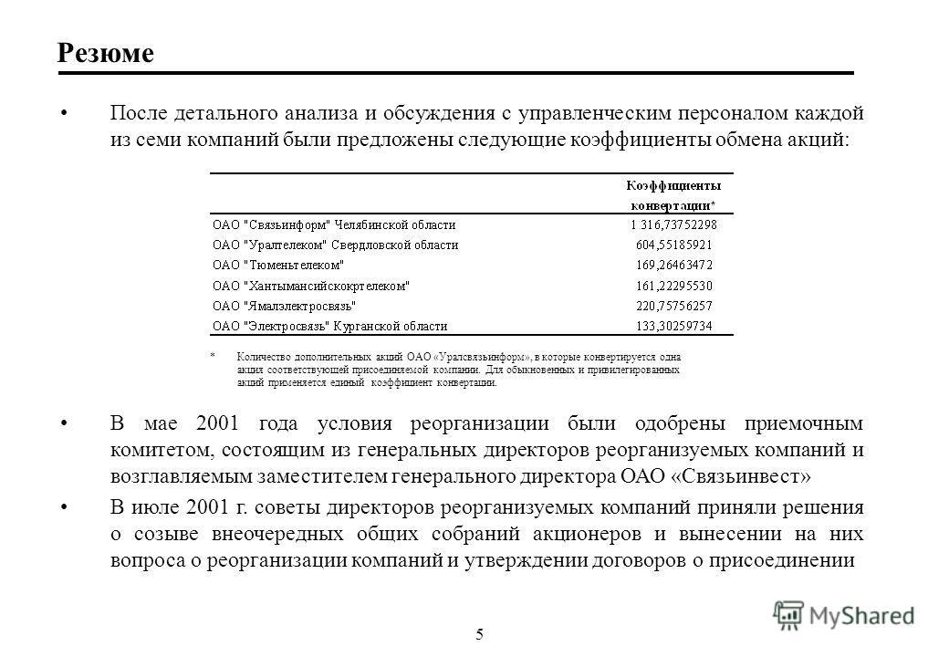5 Резюме Поcле детального анализа и обсуждения с управленческим персоналом каждой из семи компаний были предложены следующие коэффициенты обмена акций: В мае 2001 года условия реорганизации были одобрены приемочным комитетом, состоящим из генеральных