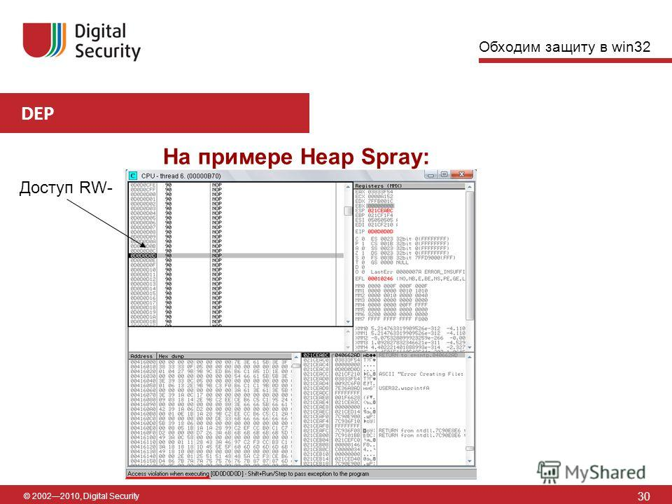 © 20022010, Digital Security DEP 30 На примере Heap Spray: Доступ RW- Обходим защиту в win32