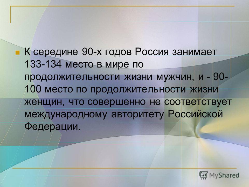 К середине 90-х годов Россия занимает 133-134 место в мире по продолжительности жизни мужчин, и - 90- 100 место по продолжительности жизни женщин, что совершенно не соответствует международному авторитету Российской Федерации.