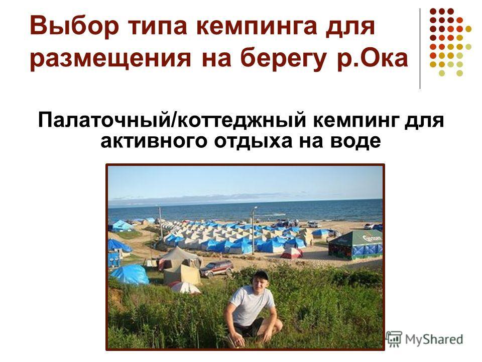 Выбор типа кемпинга для размещения на берегу р.Ока Палаточный/коттеджный кемпинг для активного отдыха на воде