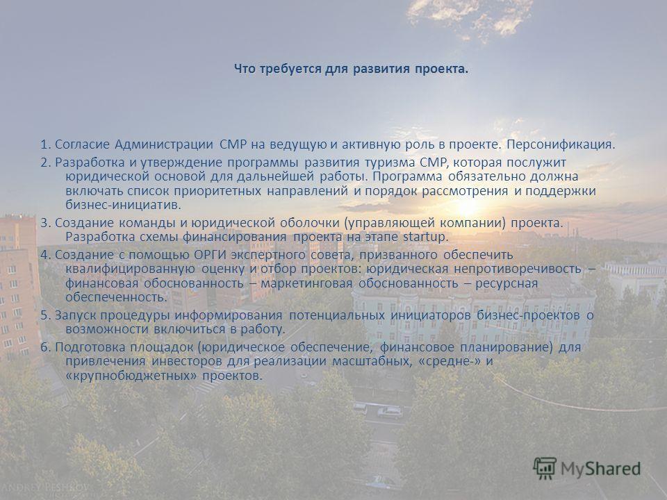1. Согласие Администрации СМР на ведущую и активную роль в проекте. Персонификация. 2. Разработка и утверждение программы развития туризма СМР, которая послужит юридической основой для дальнейшей работы. Программа обязательно должна включать список п