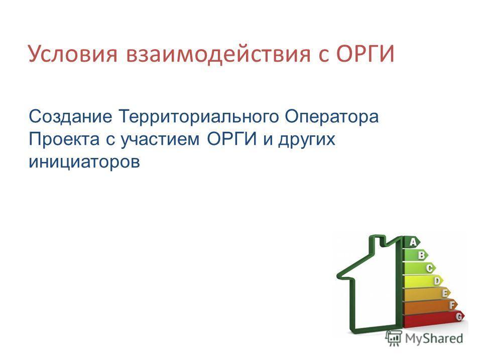 Условия взаимодействия с ОРГИ Создание Территориального Оператора Проекта с участием ОРГИ и других инициаторов