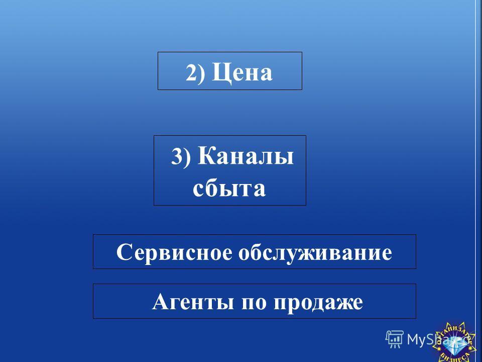 2) Цена Сервисное обслуживание Агенты по продаже 3) Каналы сбыта