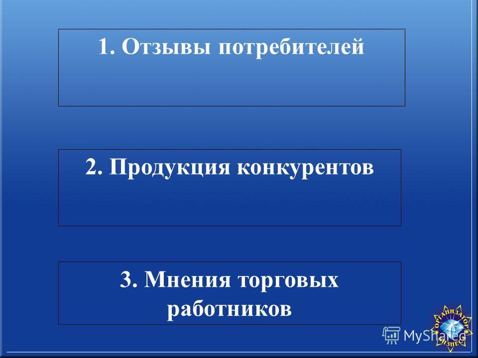 1. Отзывы потребителей 2. Продукция конкурентов 3. Мнения торговых работников