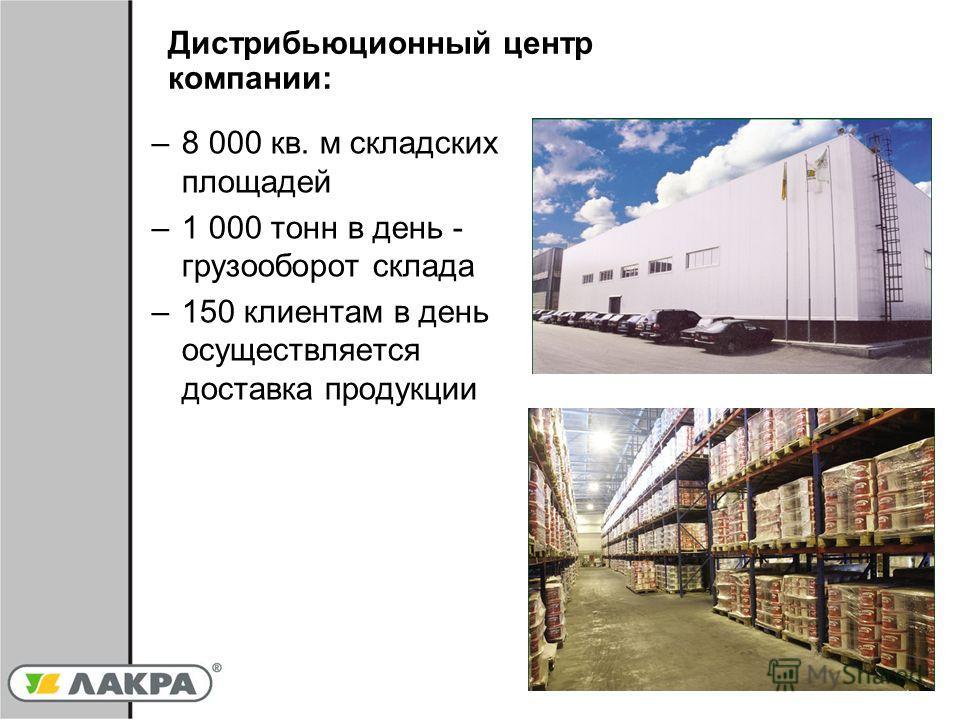 7 –8 000 кв. м складских площадей –1 000 тонн в день - грузооборот склада –150 клиентам в день осуществляется доставка продукции Дистрибьюционный центр компании: