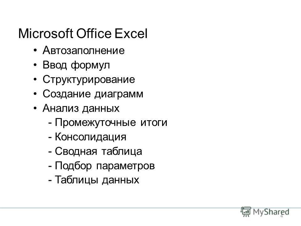 Microsoft Office Excel А втозаполнение Ввод формул Структурирование Создание диаграмм Анализ данных - Промежуточные итоги - Консолидация - Сводная таблица - Подбор параметров - Таблицы данных 4