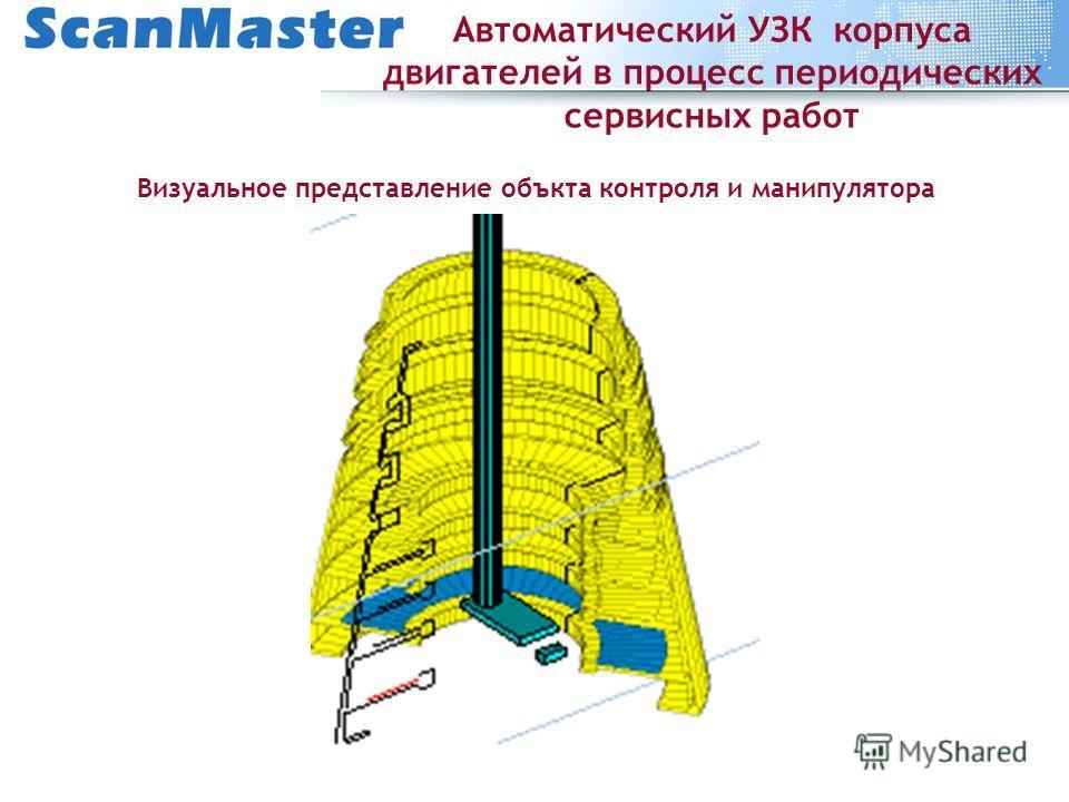 Автоматический УЗК корпуса двигателей в процесс периодических сервисных работ Визуальное представление объкта контроля и манипулятора