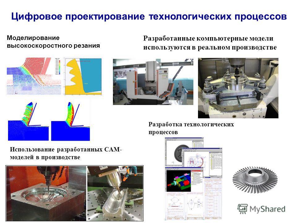 Цифровое проектирование технологических процессов Разработка технологических процессов Использование разработанных CAМ- моделей в производстве Моделирование высокоскоростного резания Разработанные компьютерные модели используются в реальном производс
