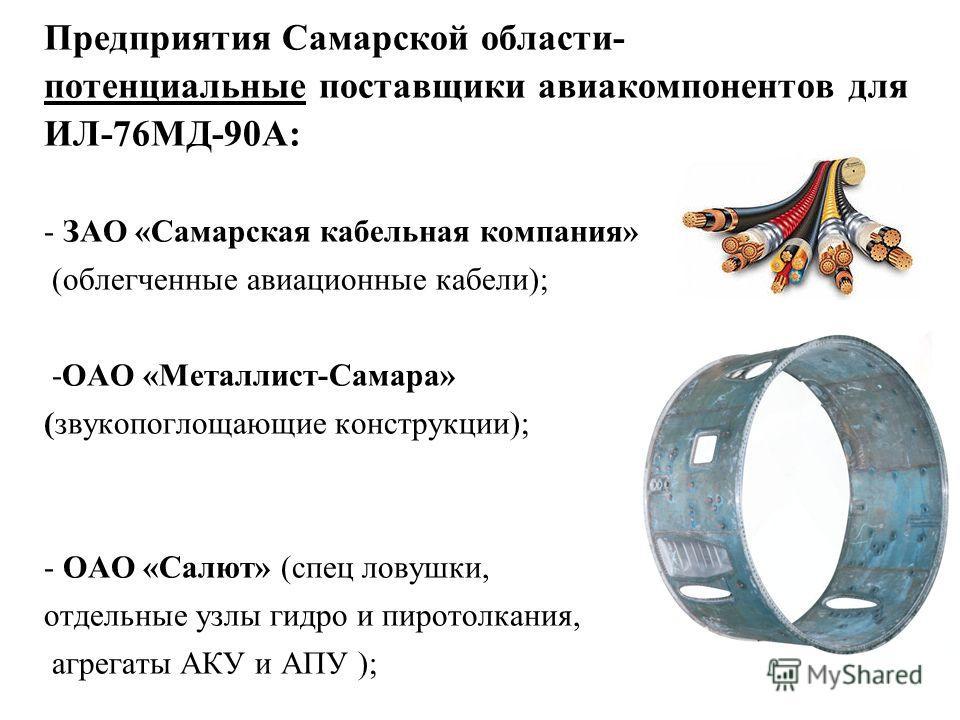 Предприятия Самарской области- потенциальные поставщики авиакомпонентов для ИЛ-76МД-90А: - ЗАО «Самарская кабельная компания» (облегченные авиационные кабели); -ОАО «Металлист-Самара» (звукопоглощающие конструкции); - ОАО «Салют» (спец ловушки, отдел