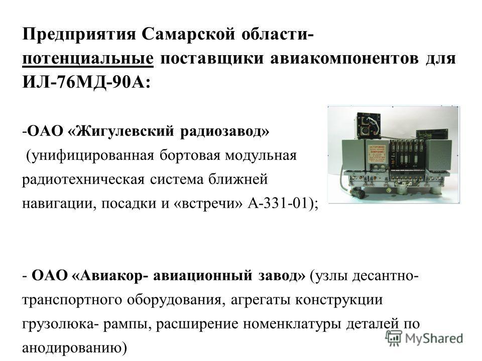 Предприятия Самарской области- потенциальные поставщики авиакомпонентов для ИЛ-76МД-90А: -ОАО «Жигулевский радиозавод» (унифицированная бортовая модульная радиотехническая система ближней навигации, посадки и «встречи» А-331-01); - ОАО «Авиакор- авиа