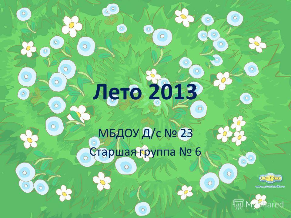 Лето 2013 МБДОУ Д/с 23 Старшая группа 6