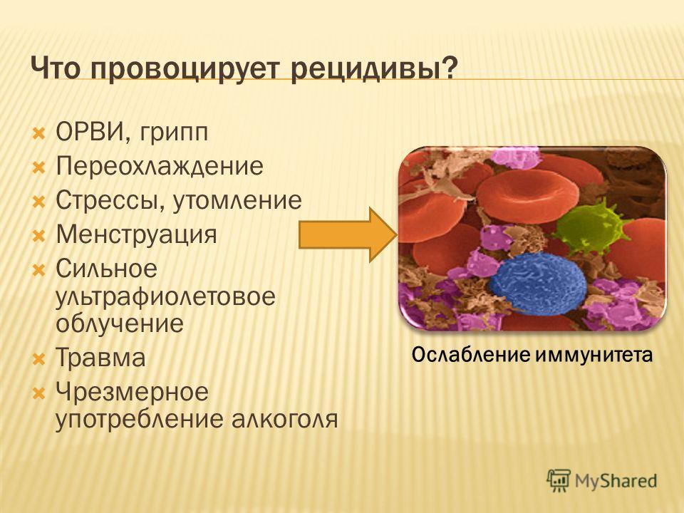 Что провоцирует рецидивы? ОРВИ, грипп Переохлаждение Стрессы, утомление Менструация Сильное ультрафиолетовое облучение Травма Чрезмерное употребление алкоголя Ослабление иммунитета
