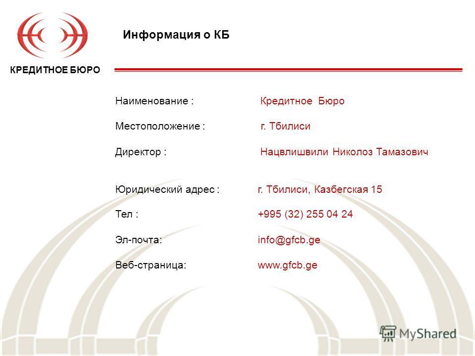 Информация о КБ Наименование : Кредитное Бюро Местоположение : г. Тбилиси Директор : Нацвлишвили Николоз Тамазович Юридический адрес :г. Тбилиси, Казбегская 15 Тел :+995 (32) 255 04 24 Эл-почта:info@gfcb.ge Веб-страница:www.gfcb.ge КРЕДИТНОЕ БЮРО