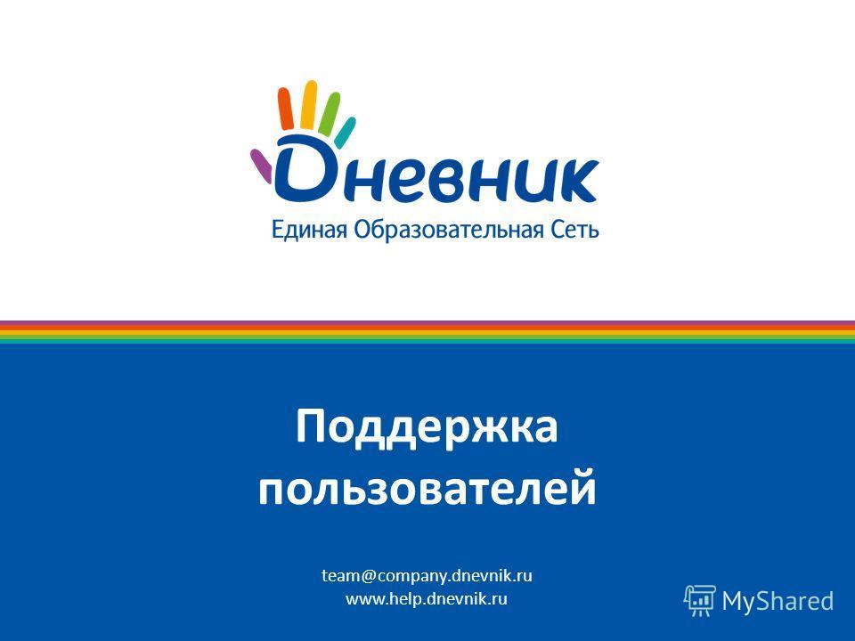 Поддержка пользователей team@company.dnevnik.ru www.help.dnevnik.ru
