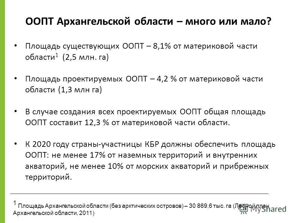 Площадь существующих ООПТ – 8,1% от материковой части области 1 (2,5 млн. га) Площадь проектируемых ООПТ – 4,2 % от материковой части области (1,3 млн га) В случае создания всех проектируемых ООПТ общая площадь ООПТ составит 12,3 % от материковой час